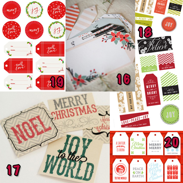 Free printable Christmas gift tags and labels