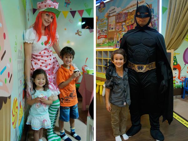 J and Little E meet Strawberry Shortcake and Batman!