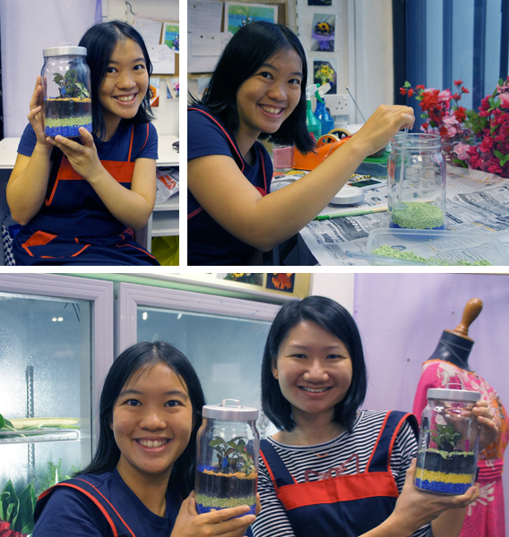 SkipHop and I with our completed Terrariums