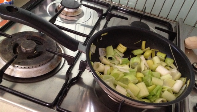 Frying leeks for ultimate fanciness