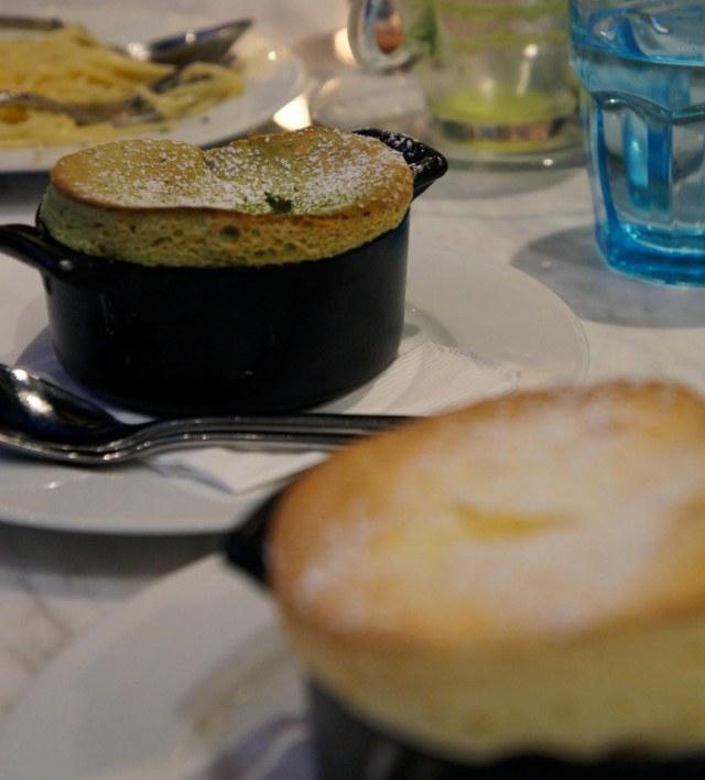 Matcha Souffle (SGD $10.80) and Vanilla Souffle (SGD$9.80)