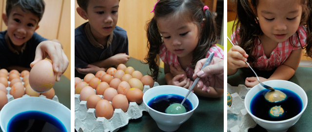 Step 3: Drop in the eggs one by one