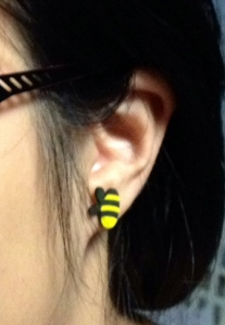 Bee nose dive on a disembodied ear