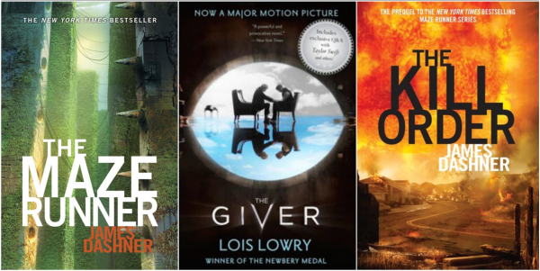 Left: The Maze Runner by James Dashner Middle: The Giver by Lois Lowry Right: The Kill Order by James Dashner