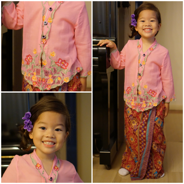 Little Nyonya proudly wearing her kebaya!