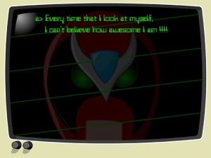 Strong Bad typing at his Tandy computer (Picture Credit: HomestarRunner.Com)