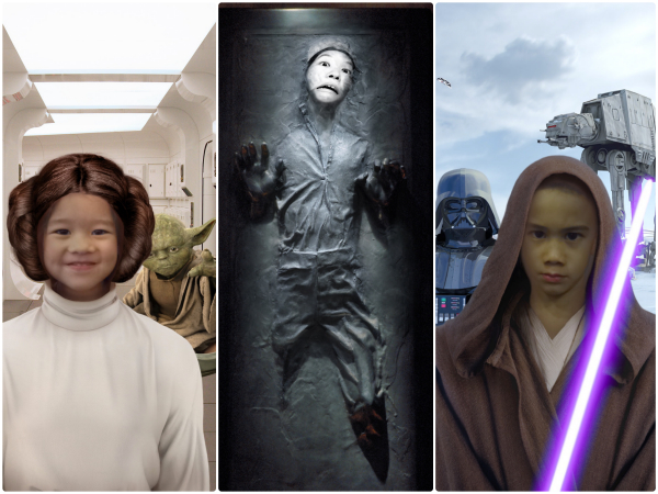 Little E-Leia, Debs G trapped in carbonite and J channelling Anakin Skywalker whilst wielding Mace Windu's lightsaber.