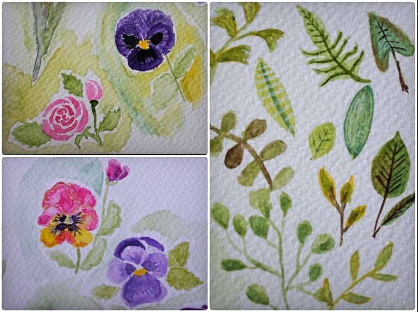 watercolour-kit-floral-study-dottieshop-spring-pansy-leaves